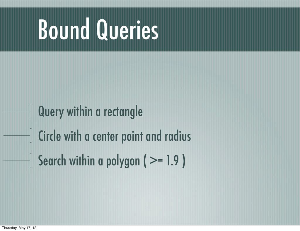 Query within a rectangle Circle with a center p...