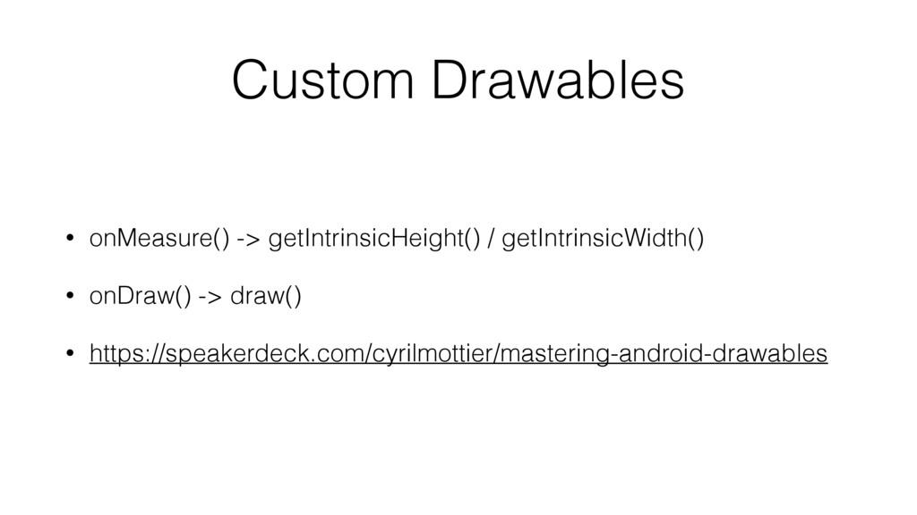 Custom Drawables • onMeasure() -> getIntrinsicH...