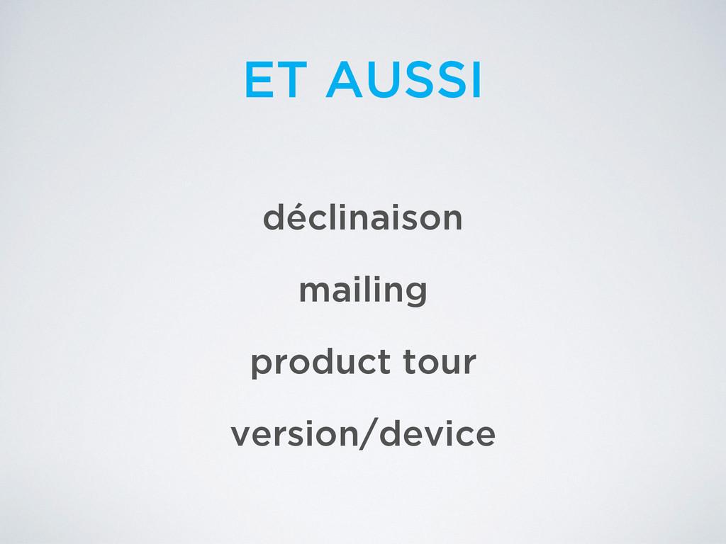 ET AUSSI déclinaison mailing product tour versi...