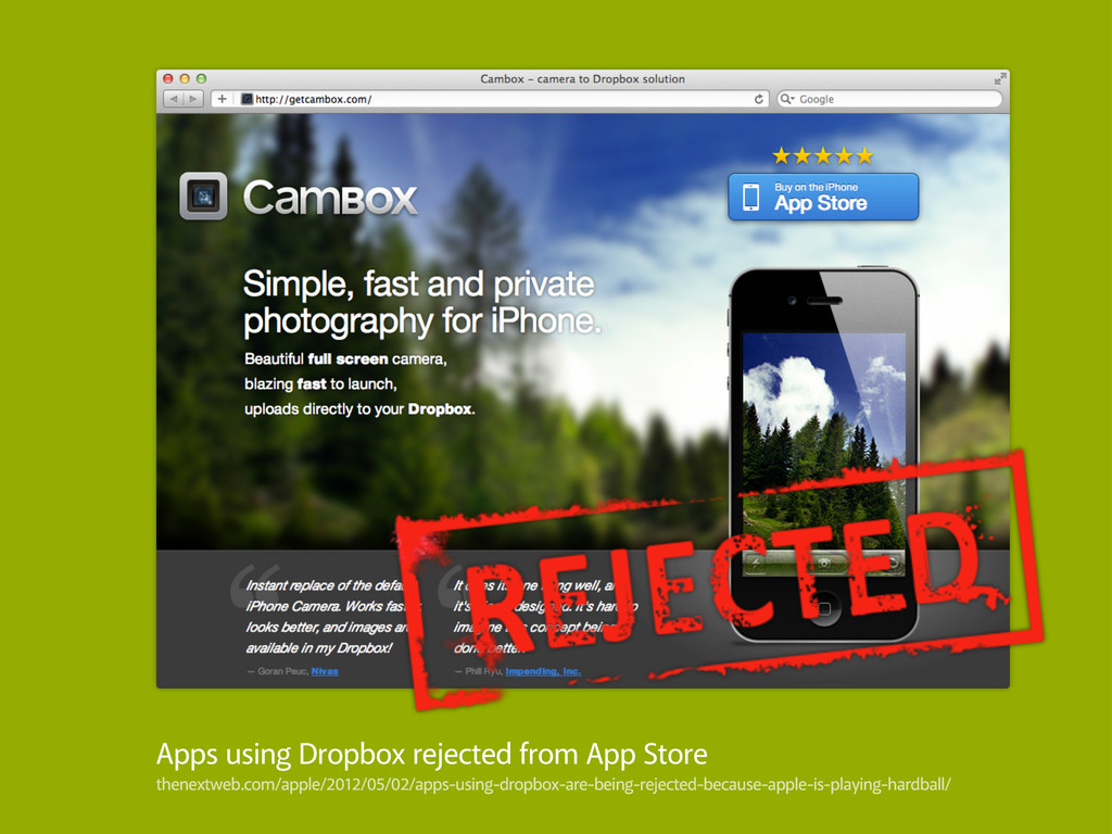 Apps using Dropbox rejected from App Store then...