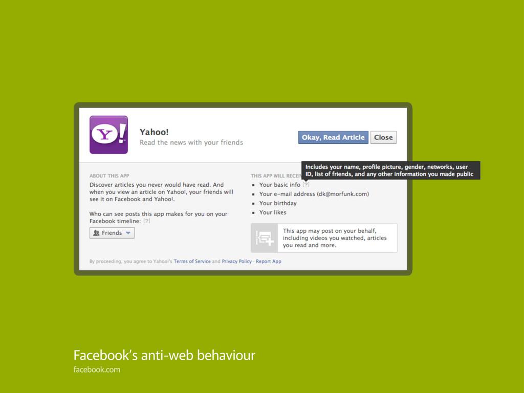Facebook's anti-web behaviour facebook.com