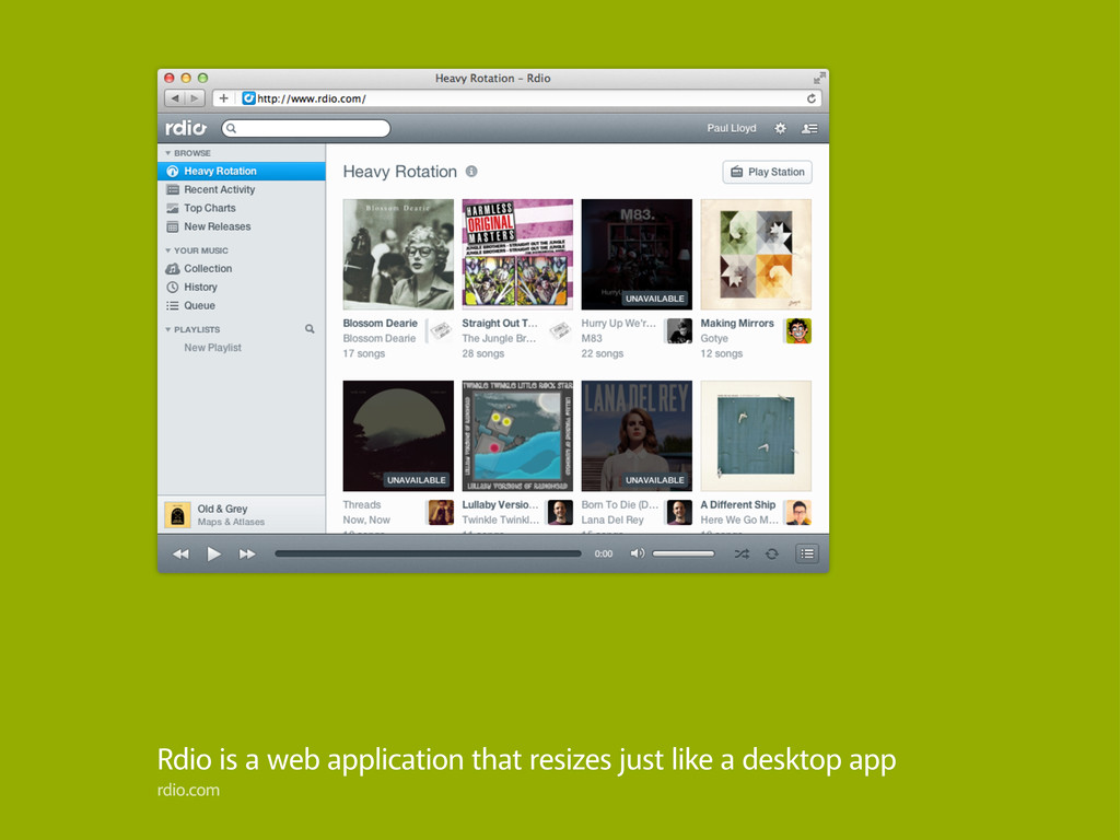 Rdio is a web application that resizes just lik...