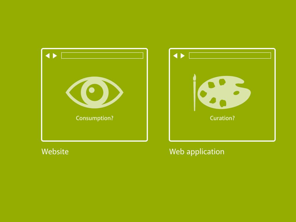 Website Web application Consumption? Curation?
