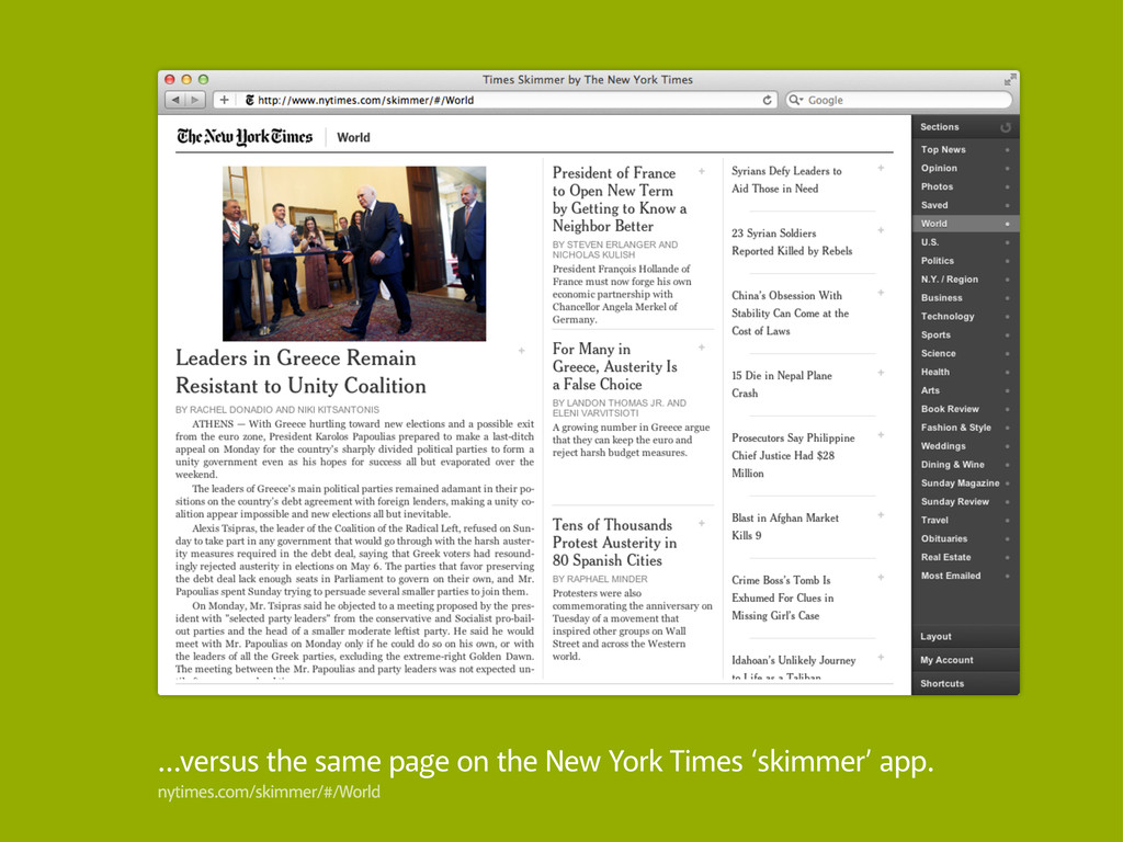 …versus the same page on the New York Times 'sk...