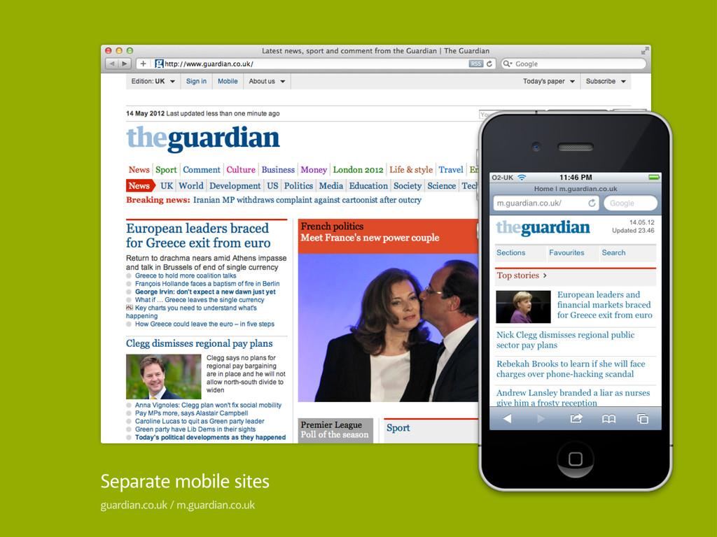 Separate mobile sites guardian.co.uk / m.guardi...
