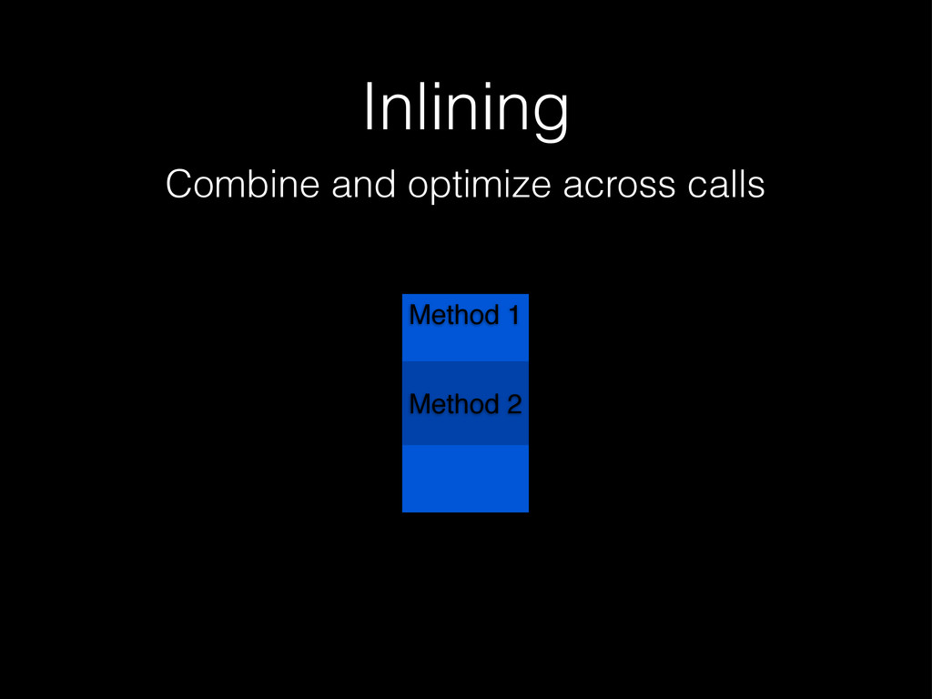 Inlining Combine and optimize across calls Meth...