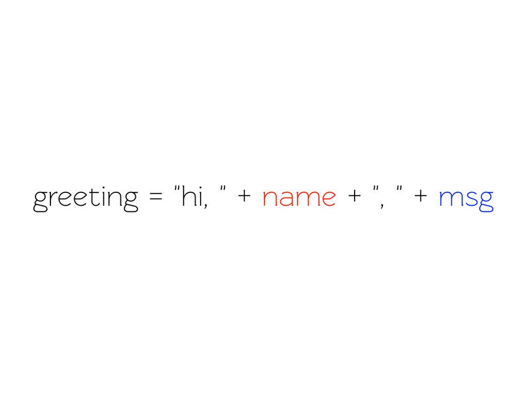 """greeting = """"hi, """" + name + """", """" + msg"""