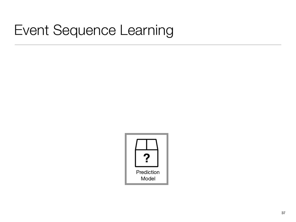 Event Sequence Learning 37 Prediction Model