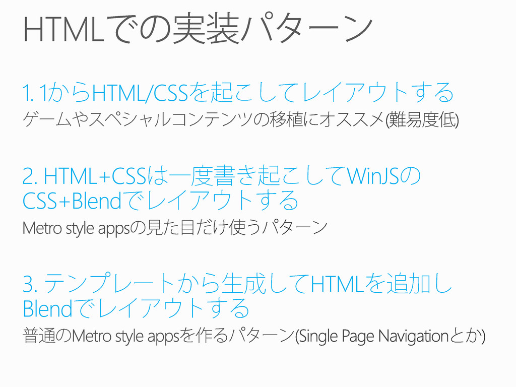 1. 1 HTML/CSS 2. HTML+CSS WinJS CSS+Blend 3. HT...