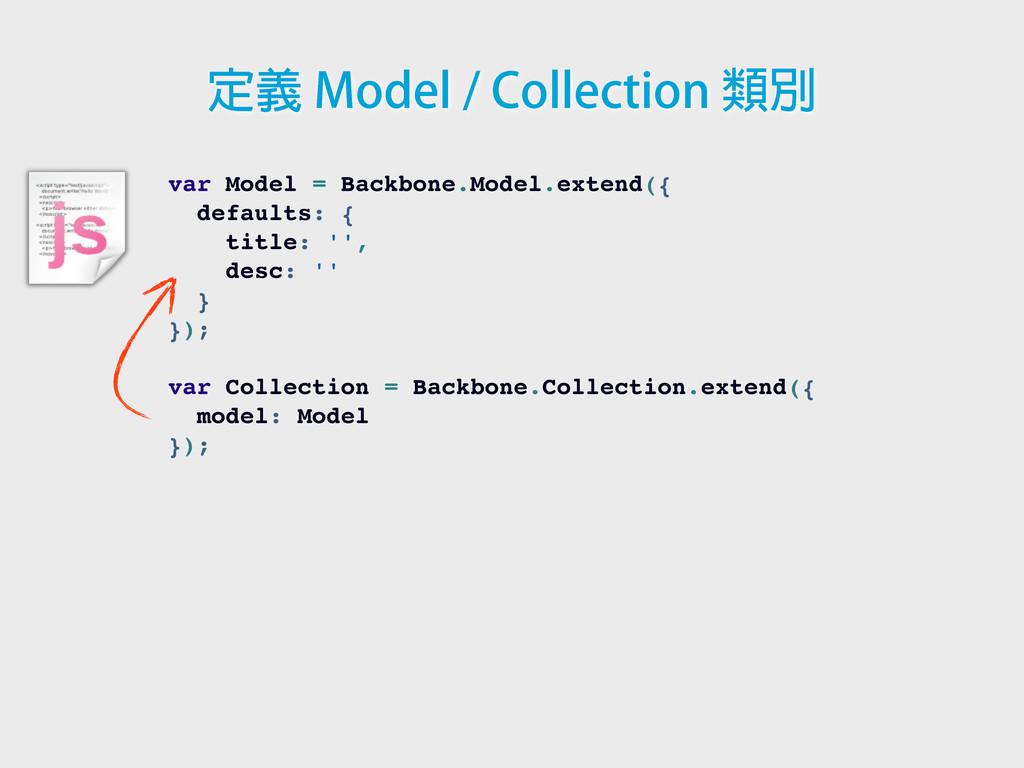 var Model = Backbone.Model.extend({ defaults: {...