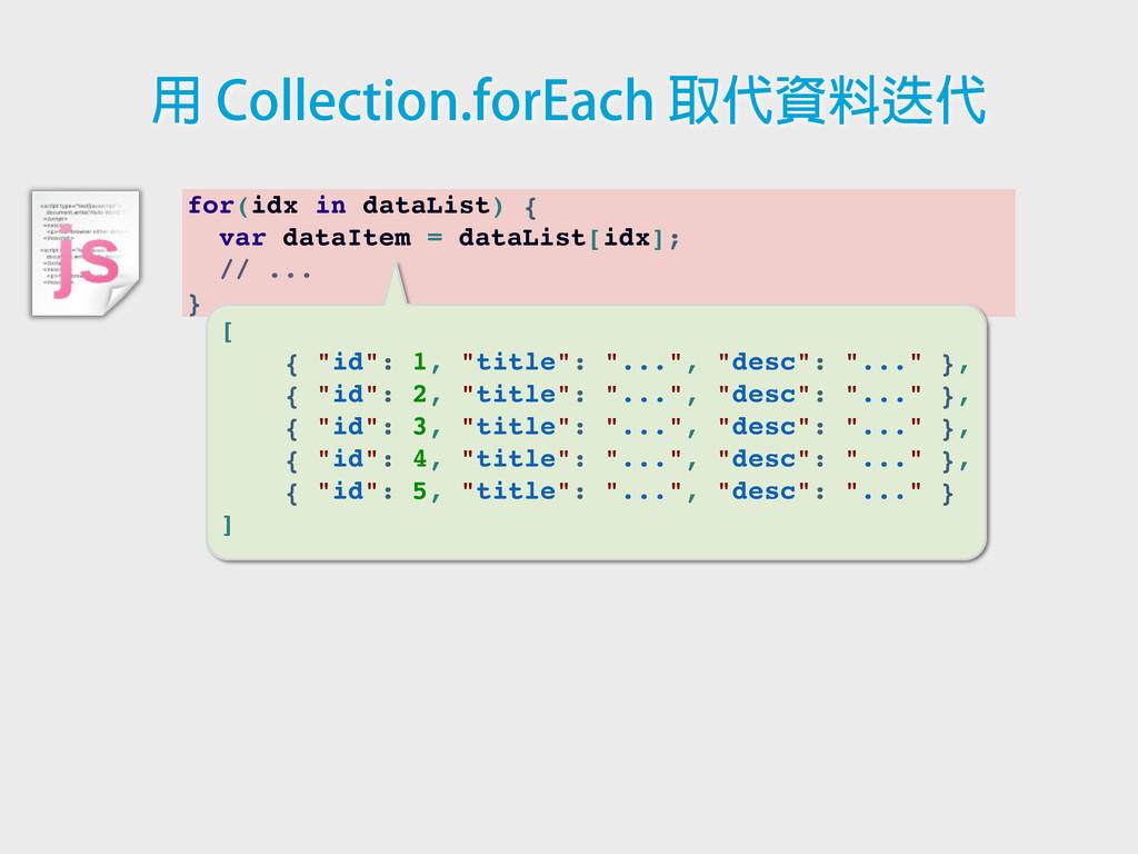 for(idx in dataList) { var dataItem = dataList[...