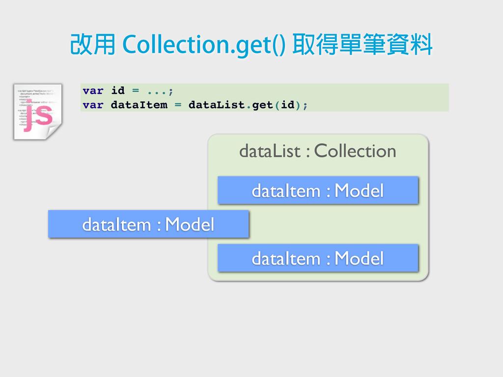 var id = ...; var dataItem = dataList.get(id); ...