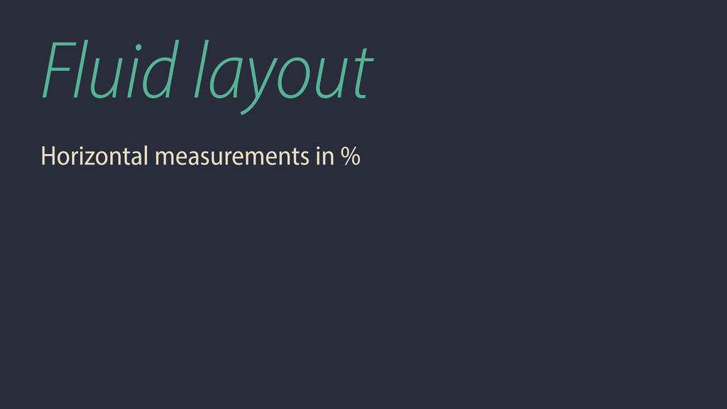 Fluid layout Horizontal measurements in %