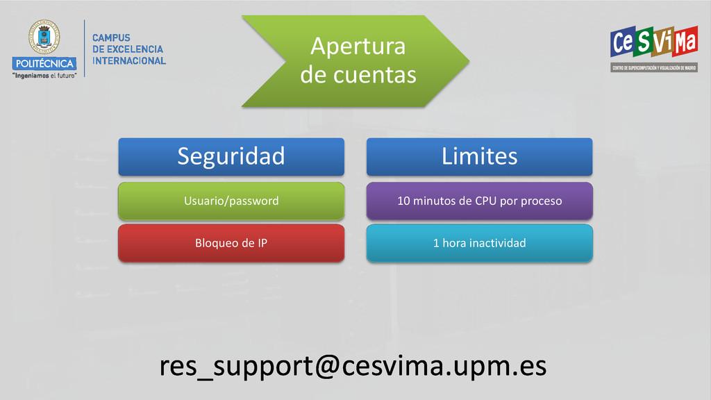 Apertura de cuentas res_support@cesvima.upm.es ...
