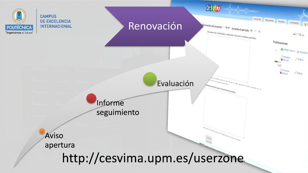 Renovación Aviso apertura Informe seguimiento E...