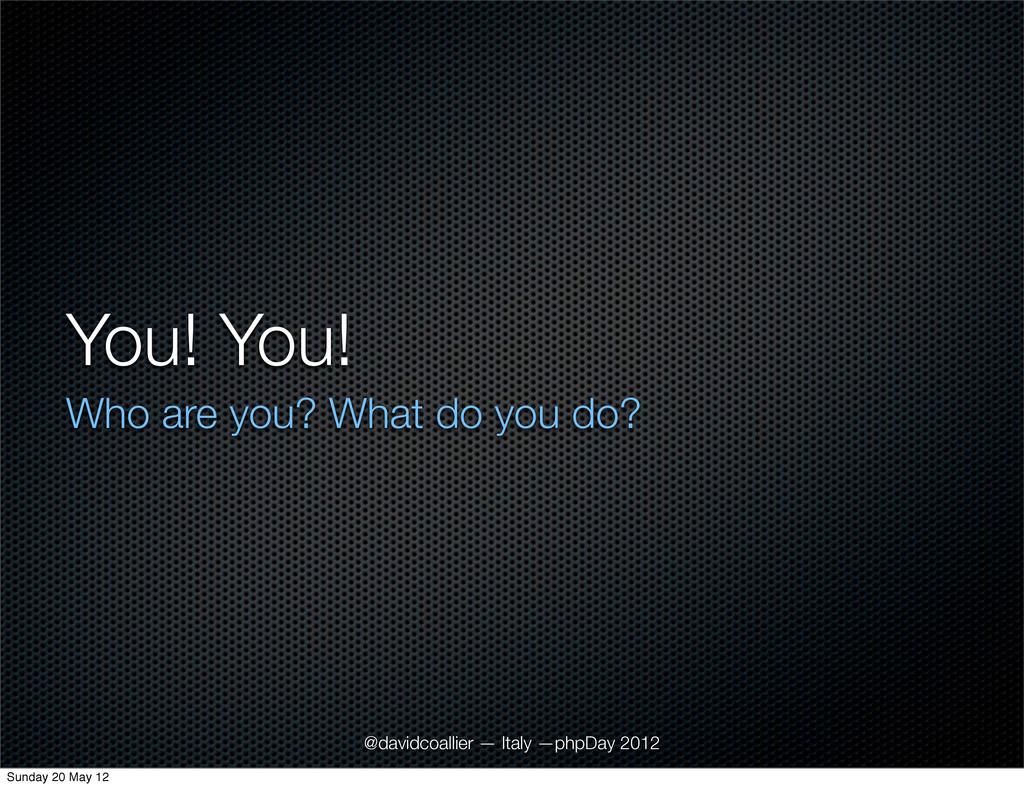 You! You! Who are you? What do you do? @davidco...