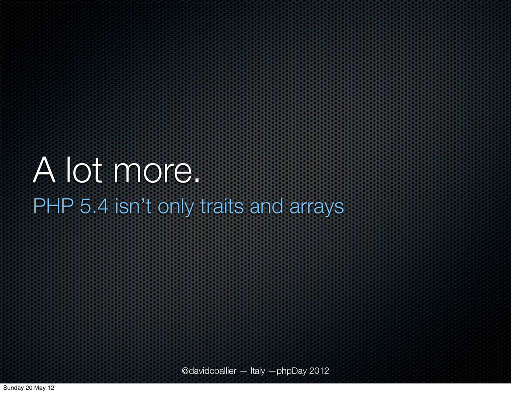 A lot more. PHP 5.4 isn't only traits and array...