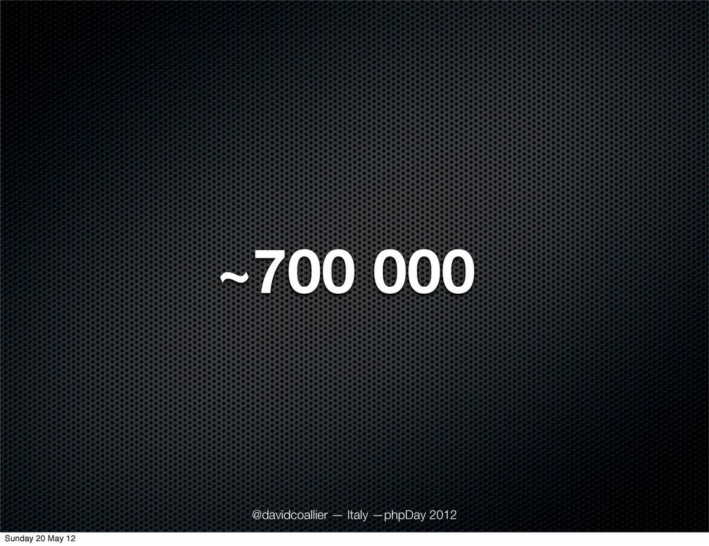 ~700 000 @davidcoallier — Italy —phpDay 2012 Su...