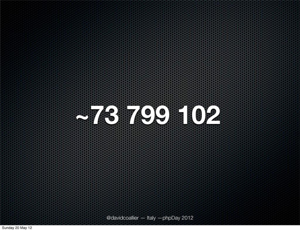 ~73 799 102 @davidcoallier — Italy —phpDay 2012...
