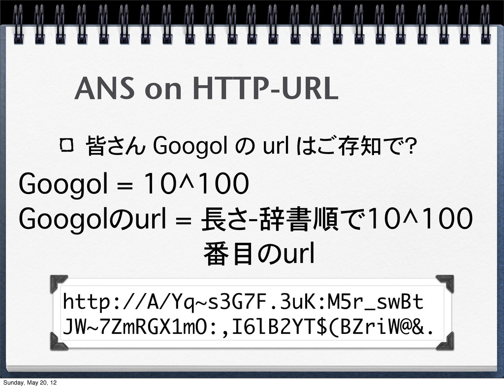 ANS on HTTP-URL 皆さん Googol の url はご存知で? Googol ...