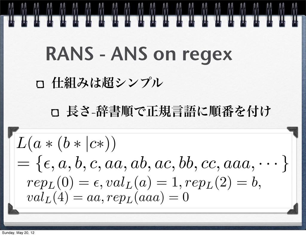 RANS - ANS on regex Έγϯϓϧ ͞-ࣙॻॱͰਖ਼نݴޠʹॱ൪Λ͚...