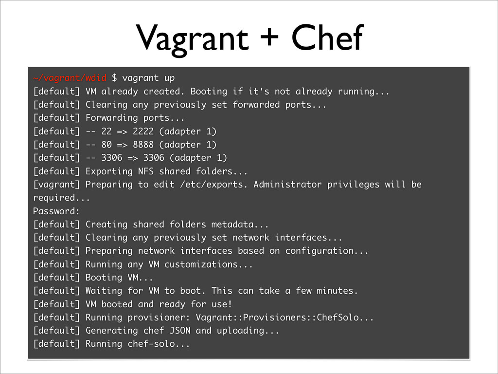 Vagrant + Chef ~/vagrant/wdid $ vagrant up [def...