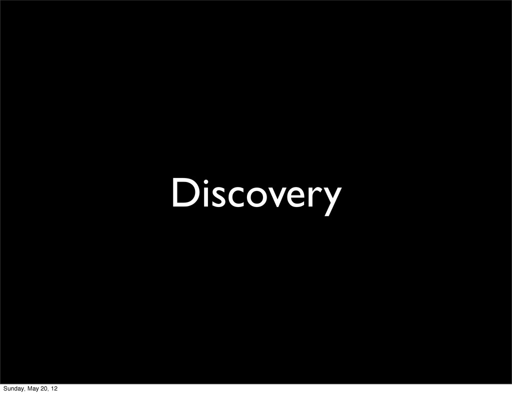 Discovery Sunday, May 20, 12