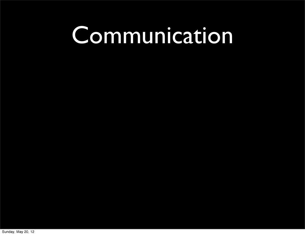 Communication Sunday, May 20, 12