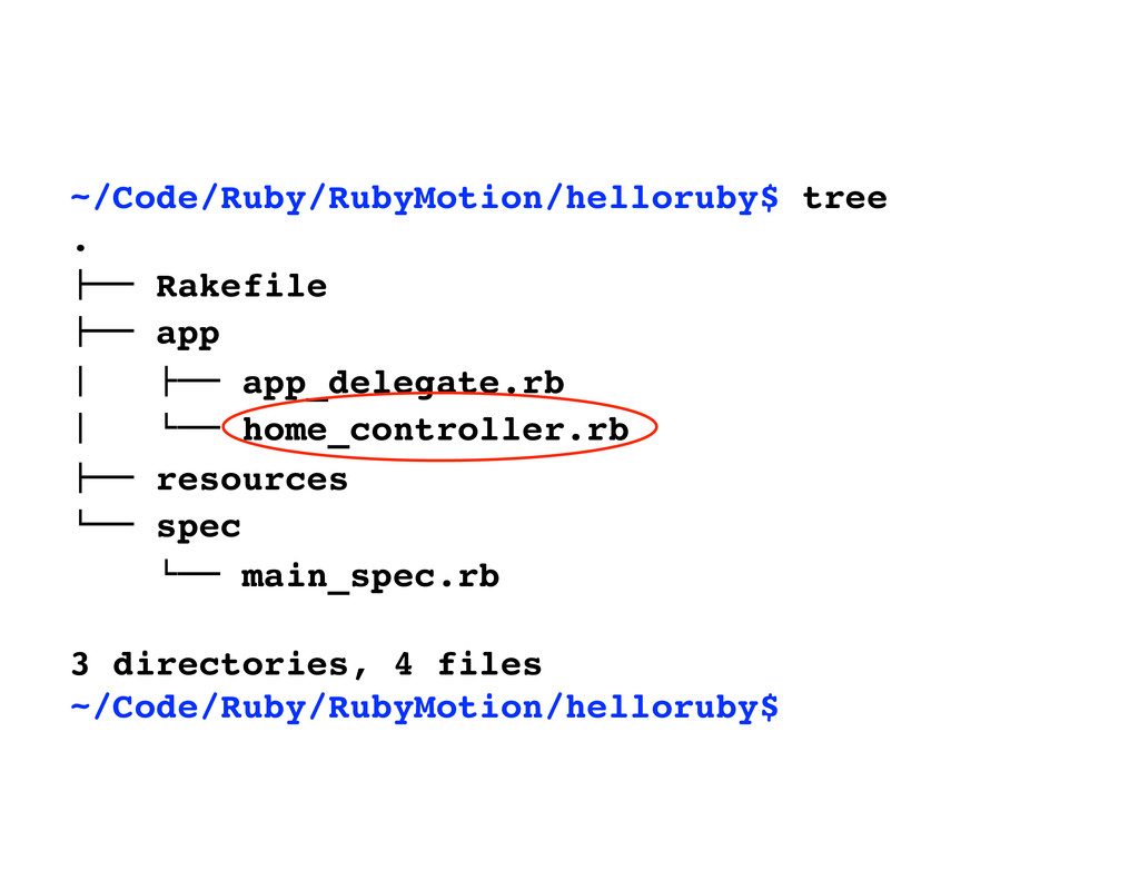 "~/Code/Ruby/RubyMotion/helloruby$ tree . !"""" Ra..."