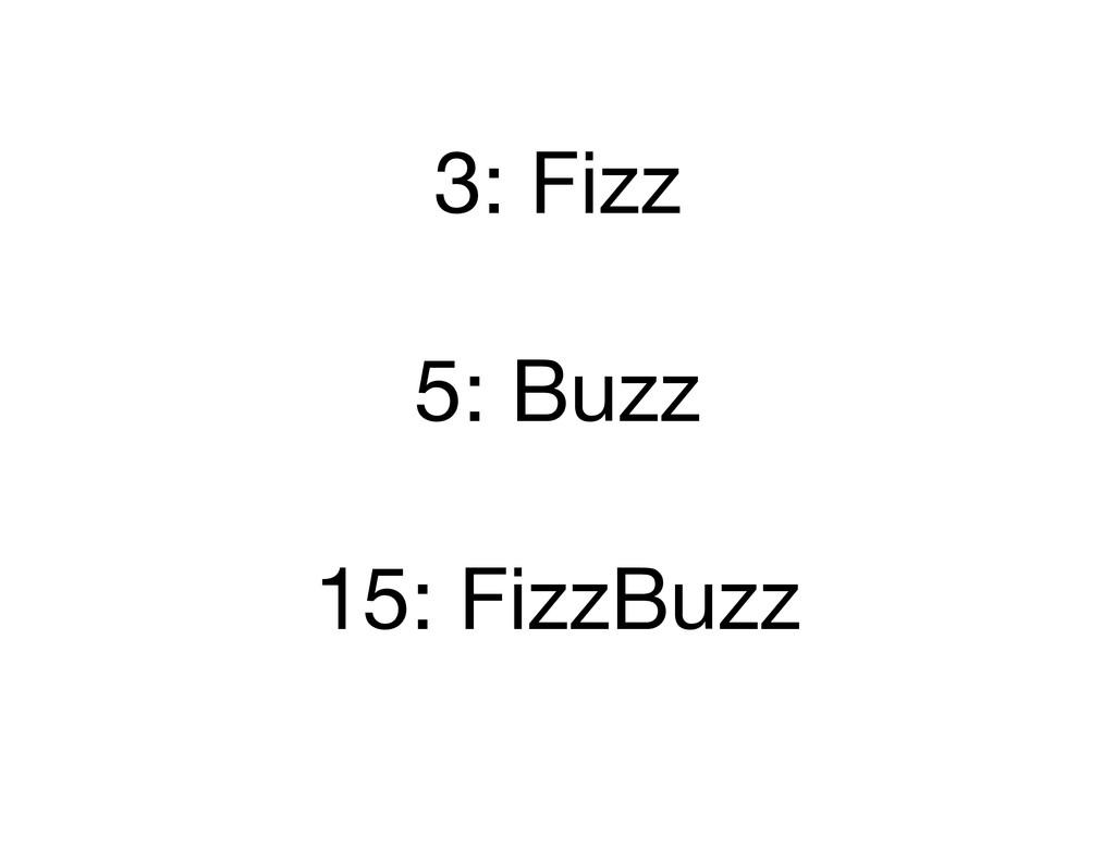 3: Fizz 5: Buzz 15: FizzBuzz