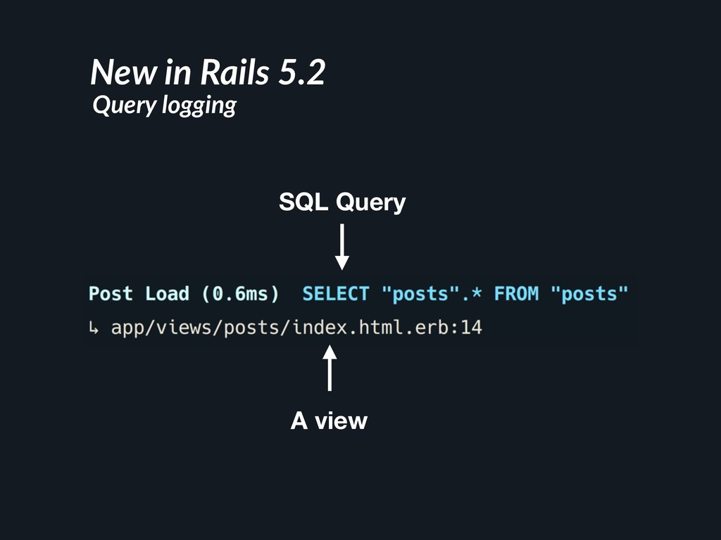 SQL Query A view New in Rails 5.2 Query logging