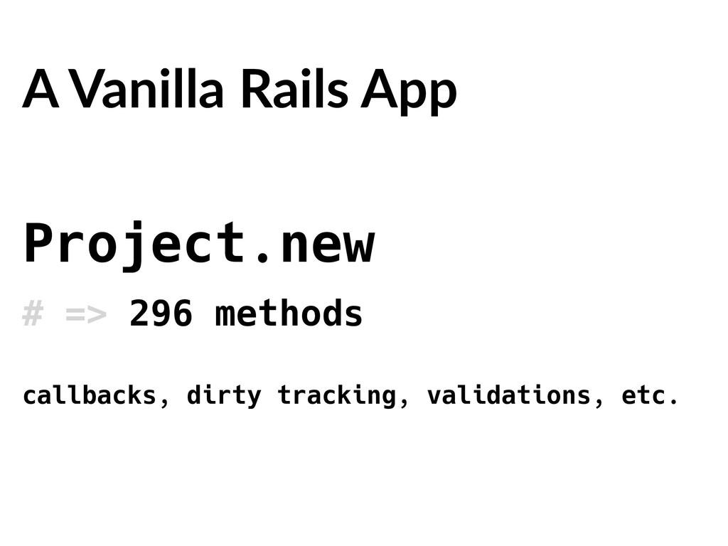 Project.new # => 296 methods A Vanilla Rails Ap...