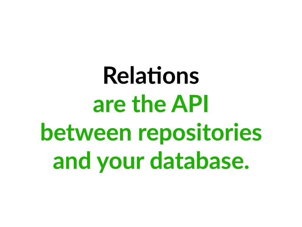 Rela=ons are the API between repositories and y...