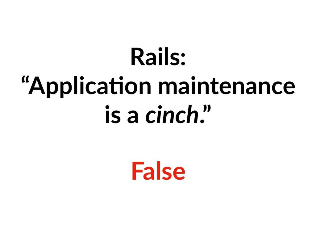 "Rails: ""Applica=on maintenance is a cinch."" Fal..."