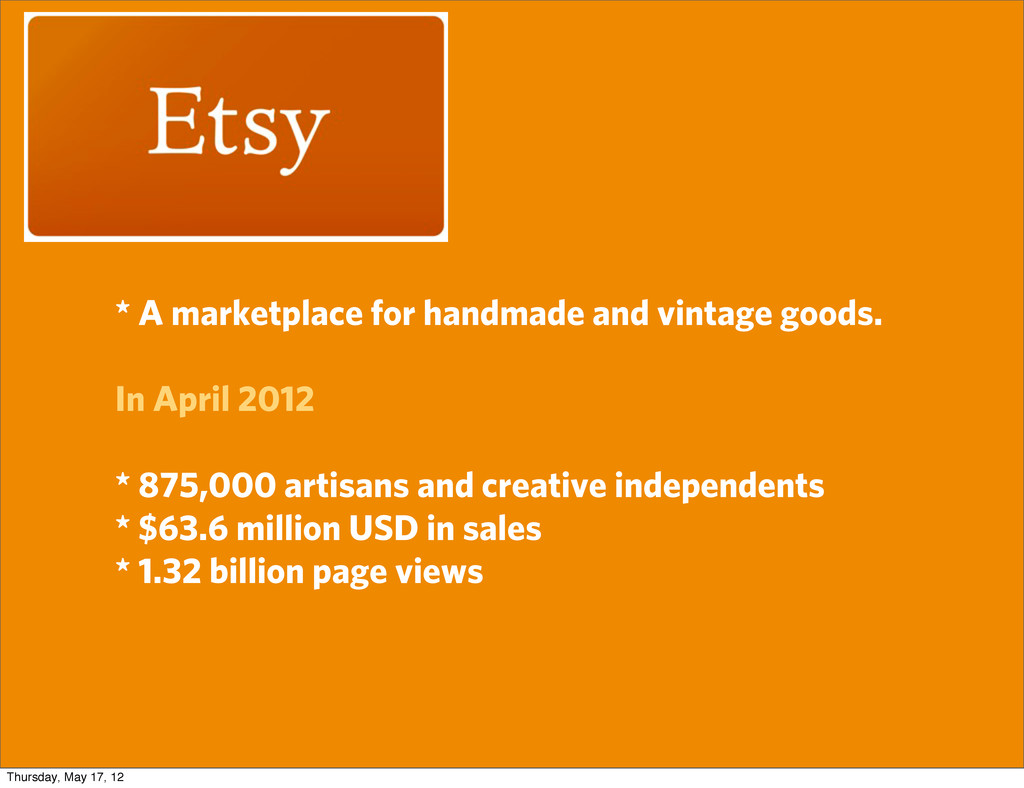 * A marketplace for handmade and vintage goods....