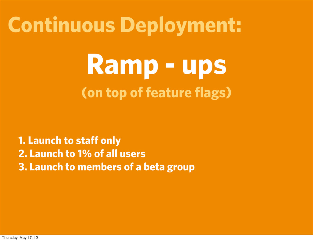 Continuous Deployment: Ramp - ups (on top of fe...