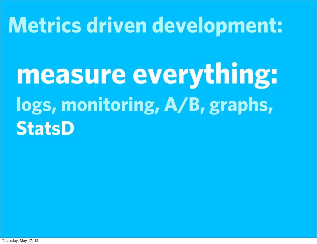 Metrics driven development: measure everything:...