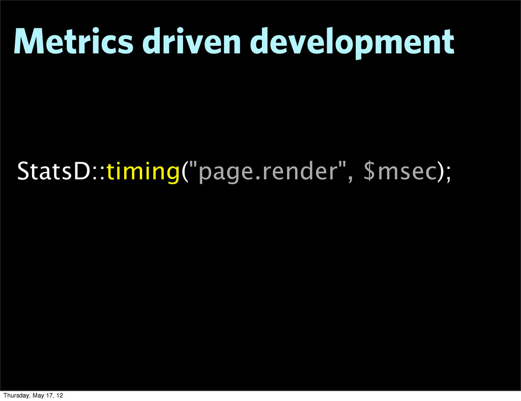 "Metrics driven development StatsD::timing(""page..."