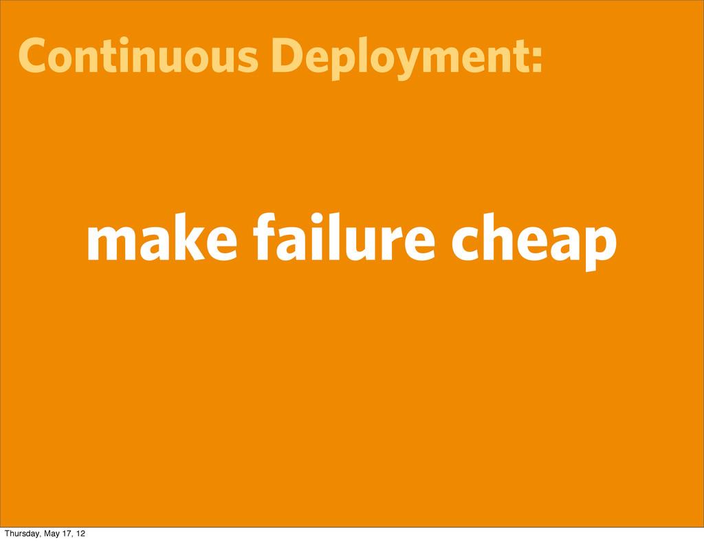 Continuous Deployment: make failure cheap Thurs...