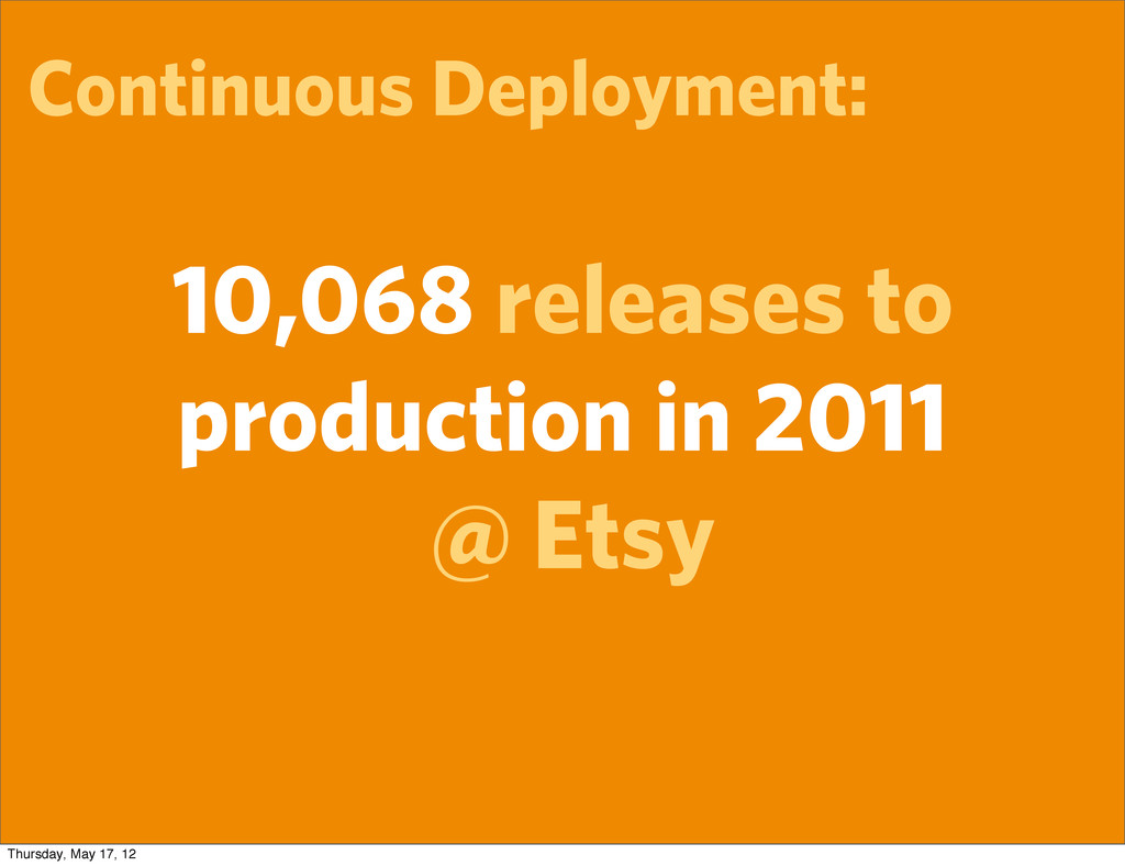 Continuous Deployment: 10,068 releases to produ...