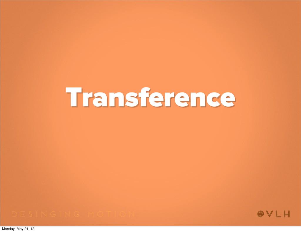 Transference Monday, May 21, 12
