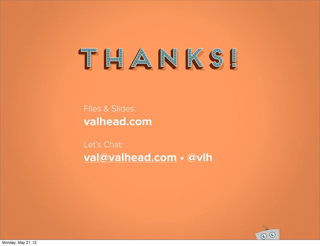 Files & Slides: valhead.com Let's Chat: val@val...