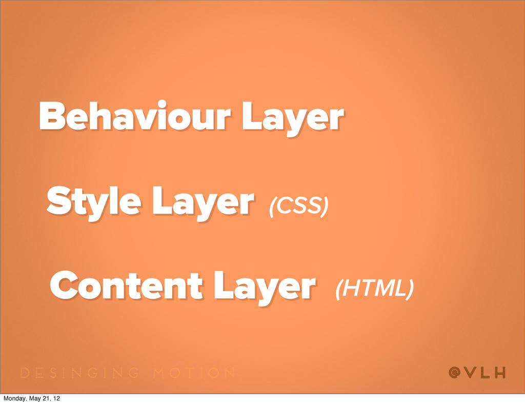 Content Layer Style Layer Behaviour Layer (CSS)...