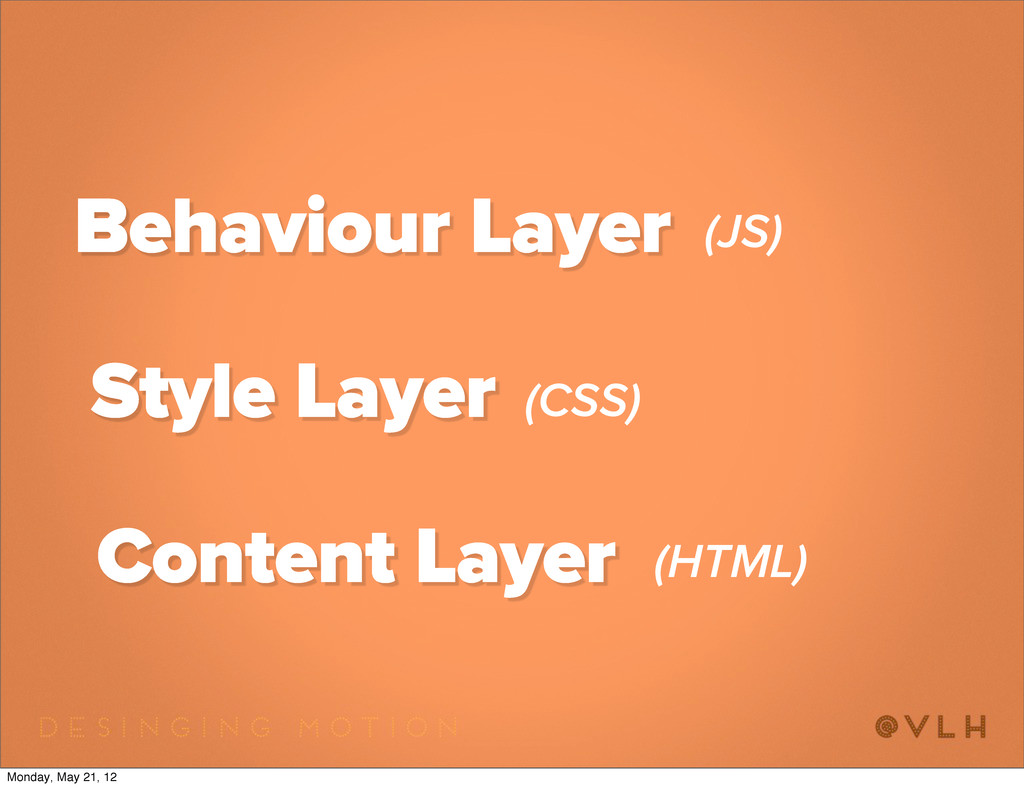 Content Layer Style Layer Behaviour Layer (JS) ...