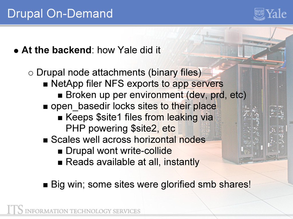 Drupal On-Demand At the backend: how Yale did i...