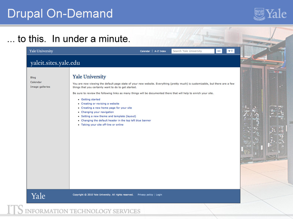 Drupal On-Demand ... to this. In under a minute.