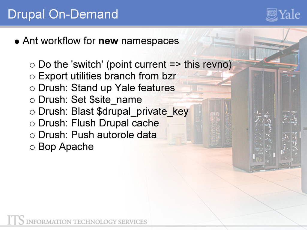 Drupal On-Demand Ant workflow for new namespace...