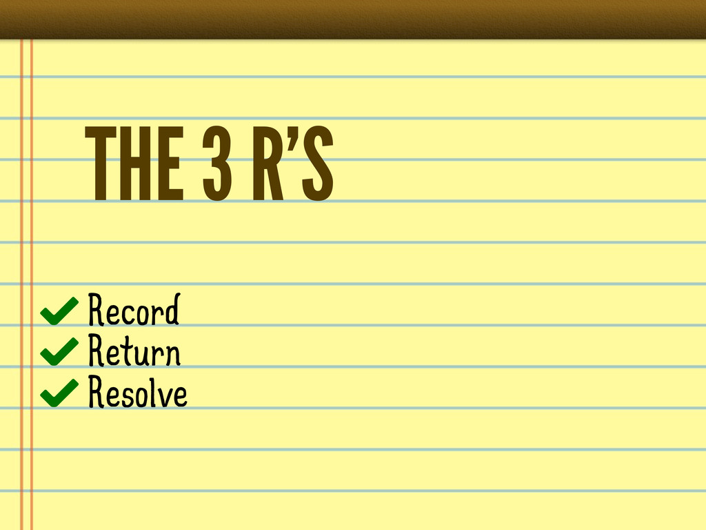 THE 3 R'S Record Return Resolve
