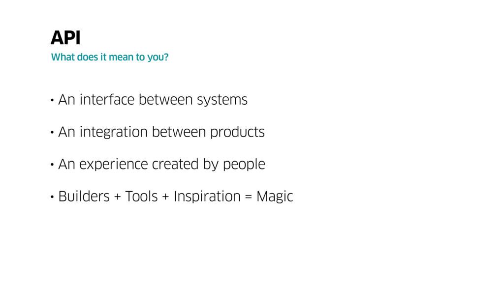 • An interface between systems • An integration...