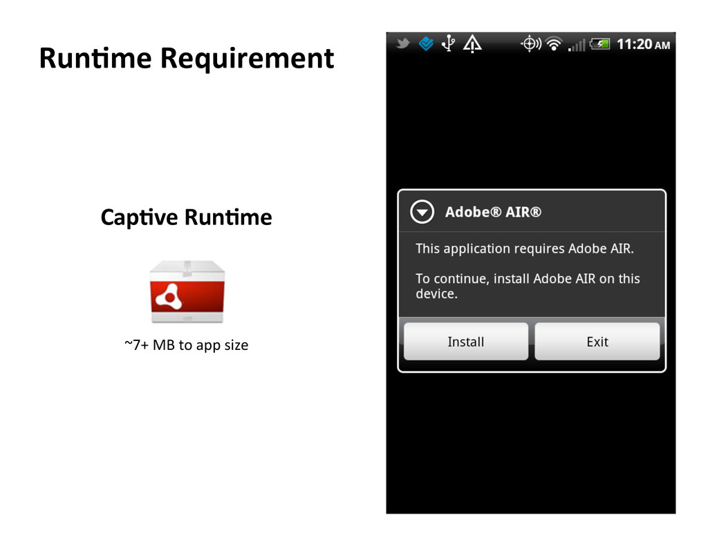 Run5me Requirement  ~7+ MB to app ...